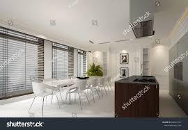 elegant dining room interior decor stock illustration
