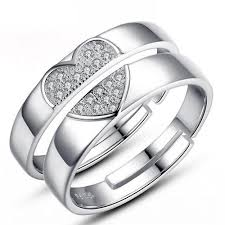 couples rings heart images Connecting half heart 92 5 sterling silver couple ring eazy fashion jpg