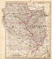Map Missouri Iowa Missouri Illinois Map 1881 Stock Vector Art 643816760 Istock