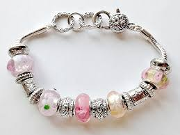 pandora bracelet murano glass images Pandora inspired lovely pink murano glass bead bracelet vintage style jpg
