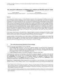 Downsizing Meaning The Linguistic Dimension Of Terminology Principles And Methods Of