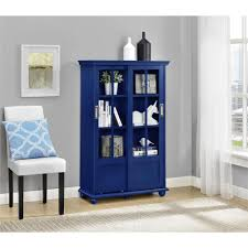 Glass Bookcases With Doors by Altra Furniture Aaron Lane Navy Glass Door Bookcase 9448596com