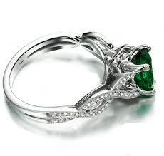 white emerald rings images Infinity design 2 carat emerald and diamond curved engagement ring jpg