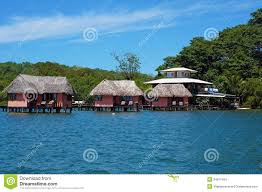 thatched cabins over the sea stock photos image 36625163