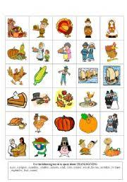 worksheet thanksgiving flashcards