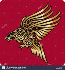 golden flying bird ornament stock vector illustration