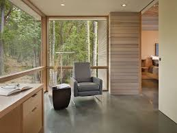 Contemporary Home Office With Concrete Floors By Heliotrope - Concrete home floors