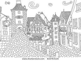 coloring rothenburg ob der tauber stock vector 610763120