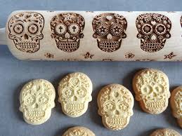 sugar skulls engraved rolling pin and cookie cutter my sugar
