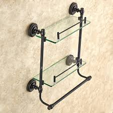 Bronze Bathroom Shelves Black Rubbed Bronze Hanging Bathroom Glass Shelves