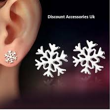 earrings uk 2x 4 earrings snowflake silver stud earrings present gift