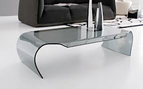 contemporary coffee table glass curved gray shell by art