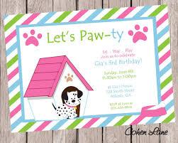puppy birthday party invitation dog party invite puppy party