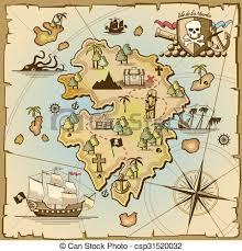 vector map pirate treasure island vector map sea ship adventure vectors