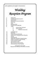 program for wedding reception wedding reception order of events