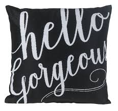 Hello Gorgeous Black Decorative Pillow Ava Grace Fashions