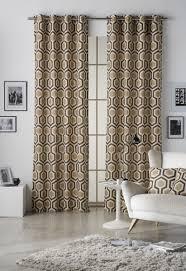Eyelet Curtains Geometrical Hexagon Safari Shitake Lined Eyelet Curtains