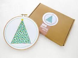 geometric christmas tree embroidery kit xmas hoop art craft kit