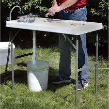 amazon com fish cleaning camp table with faucet sports u0026 outdoors