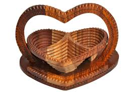 handmade rosewood collapsible basket heart 3 compartment