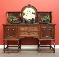 antique english oak and mirror barley twist sideboard buffet