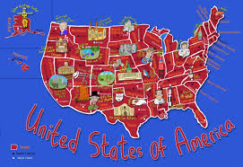 united states of america map with states and capitals kid s map of the united states and state landmarks maps