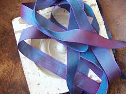 iridescent ribbon 2 yards chambray blue and purple two tone iridescent ribbon from
