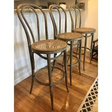 cafe bar stools restoration hardware french cafe barstools set of 3 chairish