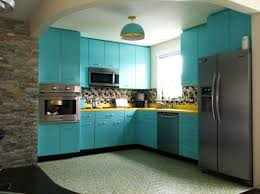 paint for metal kitchen cabinets recreates the look of vintage metal kitchen cabinets