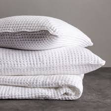 Cotton Quilted Bedspread Veiros Cotton Quilt White Waffle Design