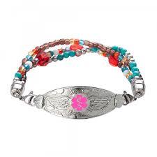 red chain bracelet images Angel wing medical alert bracelet tri strand crystal red chain jpg