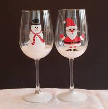 Santa and Snowman hand painted wine glasses