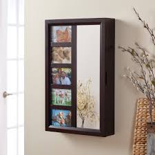 collage photo frame wooden wall locking jewelry armoire 23w x