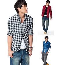 Boys Casual Dress Clothes New Mens Slim Fit Casual U0026 Dress Plaid Check Shirt Korean Style