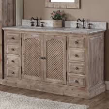 bathroom reclaimed wood vanity with storage drawer and door plus