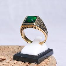 green stone rings images Rings stainless steel gold ring with green stone jpg