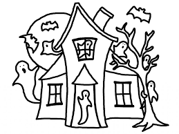 haunted house color page coloring page for kids