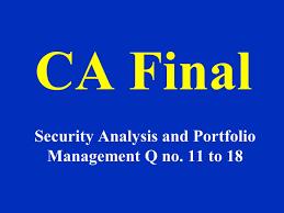 ca final security analysis and portfolio management q no 11 to