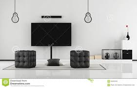 Room With Tv Black And White Living Room With Tv Set Stock Illustration Image