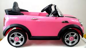 light pink audi walk through close up of pink mini cooper ride on fun for