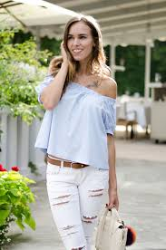 light blue off the shoulder top light blue off shoulder top white ripped jeans summer