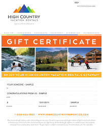 vacation gift cards gift cards high country vacation rentals