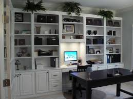 Home Office Built In Simple White Cabinets Office Interior - Built in home office designs