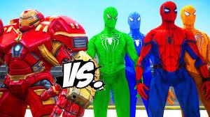 hulkbuster spiderman green spiderman blue spiderman orange