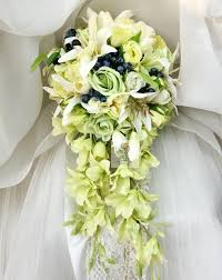 bridesmaid bouquets waterfall style handmade wedding bridal bouquet green artificial