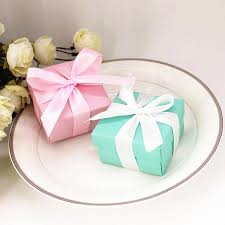 wedding chocolates blue pink paper gift box with lid ribbon blue