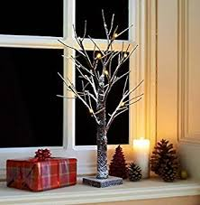 snowy light up twig tree 2ft brown white christmas pre lit table
