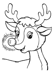 a cute christmas reindeer with glowing nose coloring page