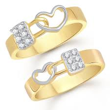 couples rings gold images Buy v k jewels love lock gold and rhodium plated couple rings jpg