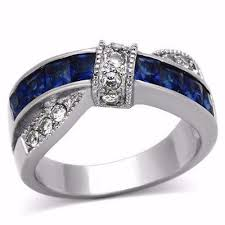 thin line wedding ring thin blue line s 1 75 ct blue clear cz stainless steel